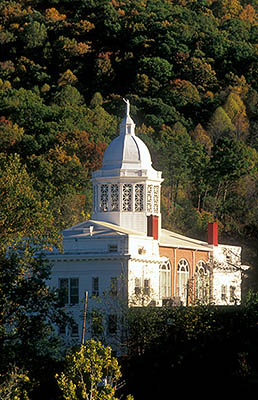 NC: Jackson County, Balsam Mountains, Sylva, Old Jackson County Courthouse West front; fall colors [Ask for #220.278.]