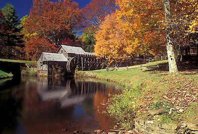 VA: Floyd County, The Blue Ridge Parkway, Meadows of Dan Area, Mabry Mill, MP 176, View of the mill in fall color [Ask for #251.004.]