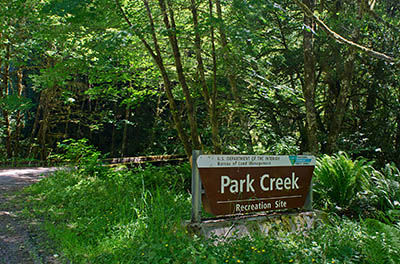 OR: Coos County, Coast Range, Coquille River Mountains, Park Creek Recreation Area (BLM), Park Creek Recreation Site, a picnic and camping area maintained by the BLM along Middle Creek Road [Ask for #274.260.]