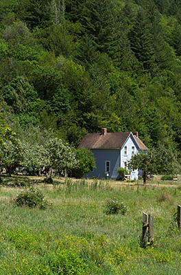 OR: South Coast Region, Douglas County, Pacific Coast, Reedsport Area, Umpqua River Scenic Corridor (SR 38), Schofield Creek-Willard Area, Old traditional farm house [Ask for #274.520.]