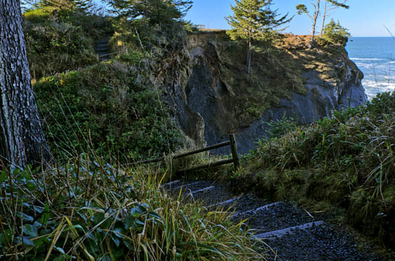 OR: South Coast Region, Coos County, Coos Bay Area, Cape Arago Parks, Shore Acres State Park, Shore Acres Cliffs, Path leads down steps along a cliff-top forest [Ask for #276.356.]