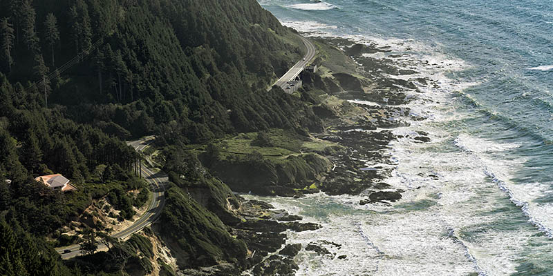 OR: South Coast Region, Lane County, Pacific Coast, Cape Perpetua Area, Cape Perpetua National Scenic Area, Cape Perpetua Overlook, This mountaintop overlook gives views of US 101 hugging the sea cliffs below [Ask for #276.514.]
