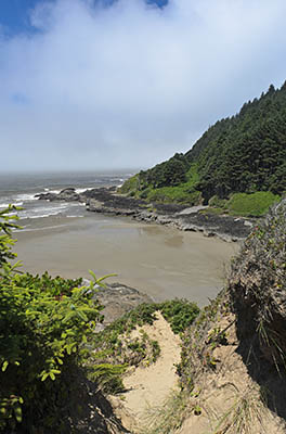 OR: South Coast Region, Lane County, Pacific Coast, Cape Perpetua Area, Cape Perpetua National Scenic Area, Cooks Chasm Viewpoint, View over a sandy beach in a remote cove, as fog rolls in [Ask for #276.A36.]