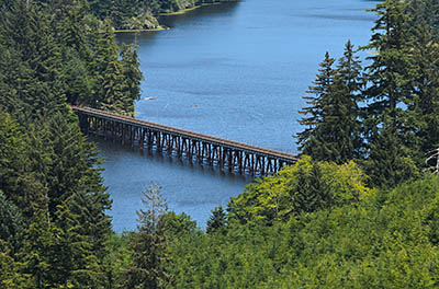 Here the Coos Bay Rail Link crosses Lake Tahkenich.