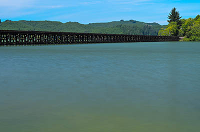 The Coos Bay Rail Link crosses Siltcoos Lake on this long trestle.