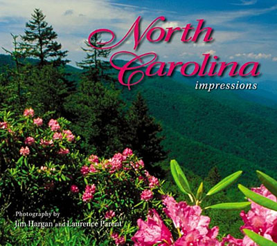 "North Carolina, Cover of ""North Carolina Impressions"" by Jim Hargan; rhododendrons on the Blue Ridge Parkway [Ask for #990.025.]"