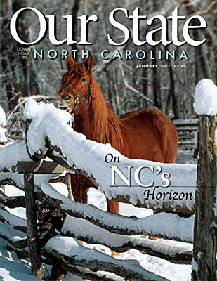 North Carolina, Jim's photo of a horse eating snow off a split rail fence at the Pioneer Farm Museum, Great Smoky Mountains Nat Pk, is on the cover of Our State, Jan 2007 [Ask for #990.064.]