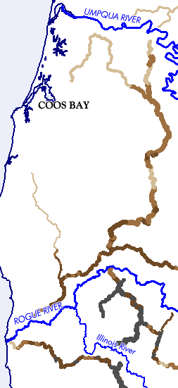 OR: South Coast Region, Coos County, Coast mountains of Coos Co, Umpqua to Rogue Rivers. Map designed by Jim Hargan, &#169;2015; data from <ahref=&#39;http://www.delorme.com>Delorme, &#169;2004</a> [Ask for #990.105.]