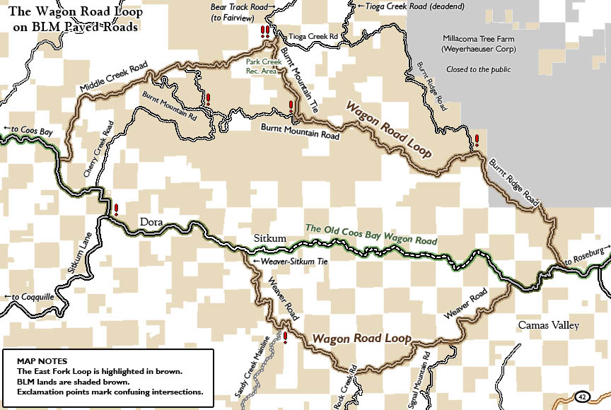 OR: South Coast Region, Coos County, Coast Range, Coquille River Mountains, Paved roads in the BLM lands surrounding the Old Wagon Road, with a scenic loop road marked. [Ask for #990.133.]